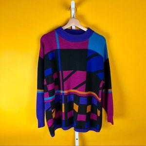 Purple Pink 90s Urban Color Block Knit Sweater